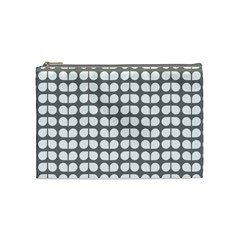 Gray And White Leaf Pattern Cosmetic Bag (medium)  by creativemom