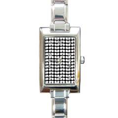 Black And White Leaf Pattern Rectangle Italian Charm Watches by creativemom