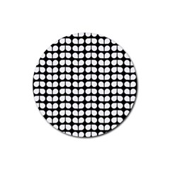 Black And White Leaf Pattern Rubber Round Coaster (4 Pack)  by creativemom