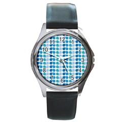 Blue Green Leaf Pattern Round Metal Watches by creativemom