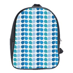 Blue Green Leaf Pattern School Bags (xl)  by creativemom