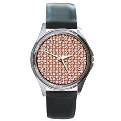 Cute Floral Pattern Round Metal Watches by creativemom