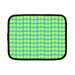 Blue Lime Leaf Pattern Netbook Case (small)  by creativemom