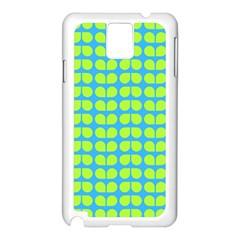 Blue Lime Leaf Pattern Samsung Galaxy Note 3 N9005 Case (white) by creativemom