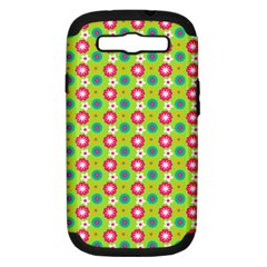 Cute Floral Pattern Samsung Galaxy S Iii Hardshell Case (pc+silicone)