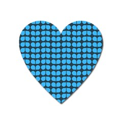 Blue Gray Leaf Pattern Heart Magnet by creativemom