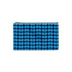Blue Gray Leaf Pattern Cosmetic Bag (small)