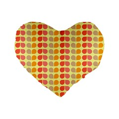 Colorful Leaf Pattern Standard 16  Premium Flano Heart Shape Cushions by creativemom