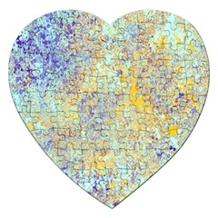 Abstract Earth Tones With Blue  Jigsaw Puzzle (heart) by theunrulyartist