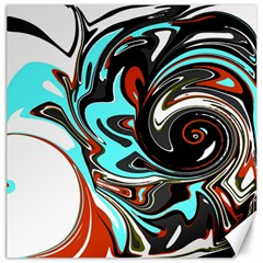 Abstract In Aqua, Orange, And Black Canvas 12  X 12   by theunrulyartist