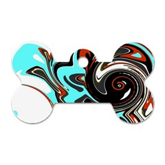 Abstract In Aqua, Orange, And Black Dog Tag Bone (one Side) by theunrulyartist