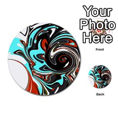 Abstract In Aqua, Orange, And Black Multi Purpose Cards (round)  by theunrulyartist