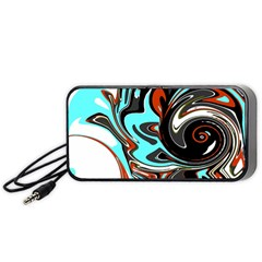 Abstract In Aqua, Orange, And Black Portable Speaker (black)  by theunrulyartist