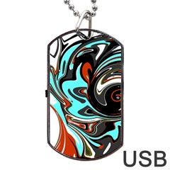 Abstract In Aqua, Orange, And Black Dog Tag Usb Flash (two Sides)  by theunrulyartist