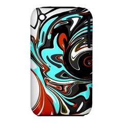 Abstract In Aqua, Orange, And Black Apple Iphone 3g/3gs Hardshell Case (pc+silicone) by theunrulyartist