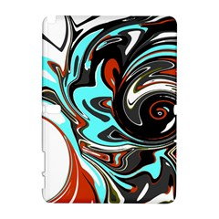 Abstract In Aqua, Orange, And Black Samsung Galaxy Note 10 1 (p600) Hardshell Case by theunrulyartist
