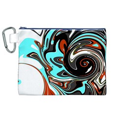 Abstract In Aqua, Orange, And Black Canvas Cosmetic Bag (xl)  by theunrulyartist