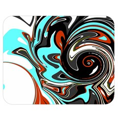 Abstract In Aqua, Orange, And Black Double Sided Flano Blanket (medium)  by theunrulyartist