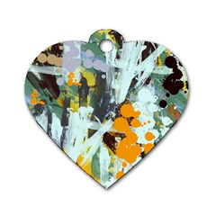 Abstract Country Garden Dog Tag Heart (one Side) by theunrulyartist