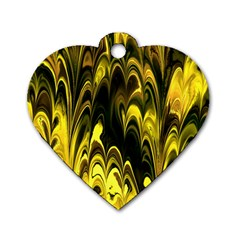 Fractal Marbled 15 Dog Tag Heart (two Sides) by ImpressiveMoments