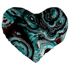 Fractal Marbled 05 Large 19  Premium Heart Shape Cushions by ImpressiveMoments