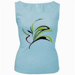 Abstract Flower Design Women s Baby Blue Tank Tops by theunrulyartist