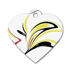 Abstract Flower Design Dog Tag Heart (two Sides) by theunrulyartist