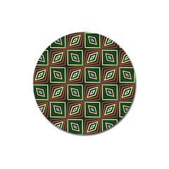 Rhombus Flowers Pattern Magnet 3  (round) by LalyLauraFLM