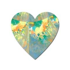 Abstract Flower Design In Turquoise And Yellows Heart Magnet by theunrulyartist