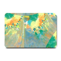 Abstract Flower Design In Turquoise And Yellows Small Doormat  by theunrulyartist