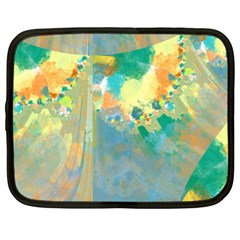 Abstract Flower Design in Turquoise and Yellows Netbook Case (XL)  by theunrulyartist