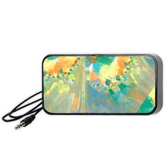Abstract Flower Design In Turquoise And Yellows Portable Speaker (black)  by theunrulyartist