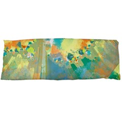 Abstract Flower Design In Turquoise And Yellows Body Pillow Cases (dakimakura)  by theunrulyartist