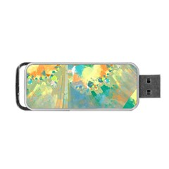 Abstract Flower Design In Turquoise And Yellows Portable Usb Flash (two Sides) by theunrulyartist