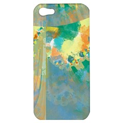 Abstract Flower Design In Turquoise And Yellows Apple Iphone 5 Hardshell Case by theunrulyartist