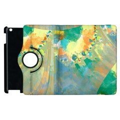 Abstract Flower Design In Turquoise And Yellows Apple Ipad 2 Flip 360 Case by theunrulyartist