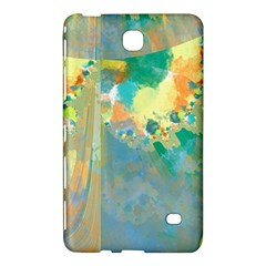 Abstract Flower Design in Turquoise and Yellows Samsung Galaxy Tab 4 (7 ) Hardshell Case  by theunrulyartist