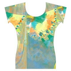 Abstract Flower Design in Turquoise and Yellows Women s Cap Sleeve Top