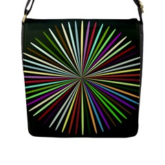 Colorful Rays Flap Closure Messenger Bag (l) by LalyLauraFLM