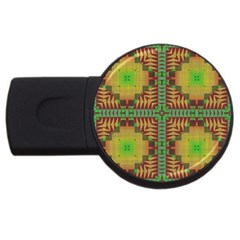Tribal Shapes Pattern Usb Flash Drive Round (4 Gb) by LalyLauraFLM