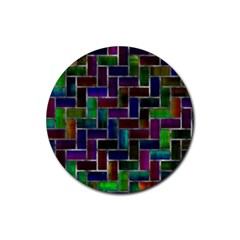 Colorful Rectangles Pattern Rubber Round Coaster (4 Pack) by LalyLauraFLM