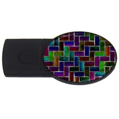 Colorful Rectangles Pattern Usb Flash Drive Oval (2 Gb) by LalyLauraFLM