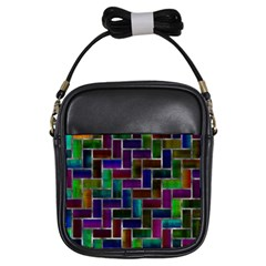 Colorful Rectangles Pattern Girls Sling Bag by LalyLauraFLM