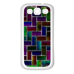 Colorful Rectangles Pattern Samsung Galaxy S3 Back Case (white) by LalyLauraFLM