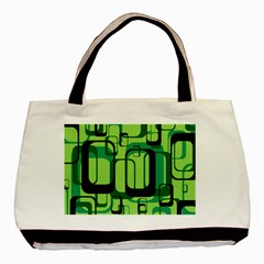 Retro Pattern 1971 Green Basic Tote Bag  by ImpressiveMoments