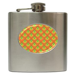 70s Green Orange Pattern Hip Flask (6 Oz) by ImpressiveMoments