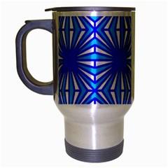 Retro Blue Pattern Travel Mug (silver Gray) by ImpressiveMoments