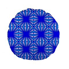 Retro Blue Pattern Standard 15  Premium Round Cushions by ImpressiveMoments