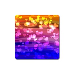 Lovely Hearts, Bokeh Square Magnet by ImpressiveMoments
