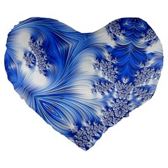 Special Fractal 17 Blue Large 19  Premium Heart Shape Cushions by ImpressiveMoments